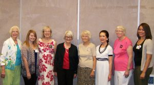 L to R: Marguerite Burg, Krystal Dickinson, Roberta Chorlton, Betsy Clark, Ruth Viviani, Elizabeth Dickinson, Evelyn Johnson, and Chris Mason